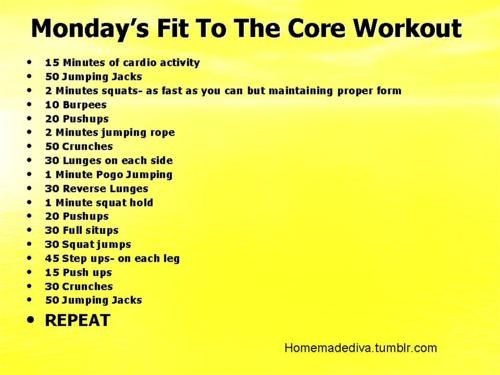 Monday's Fitness to the Core Workout
