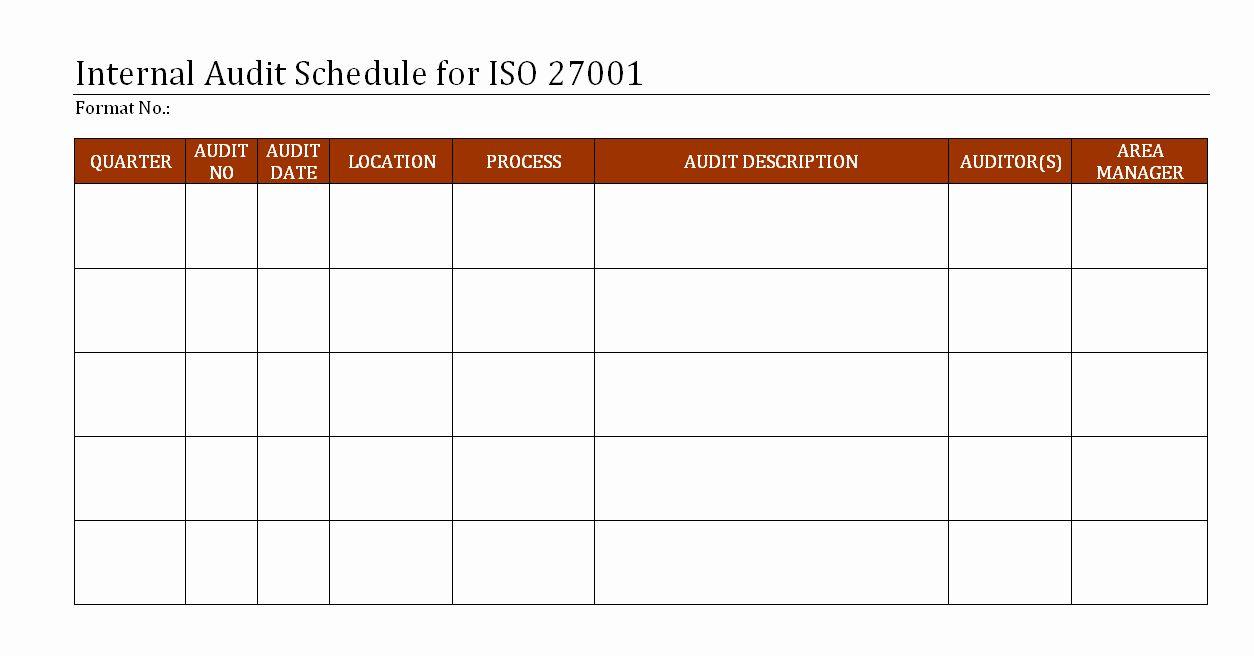 Internal Audit Schedule Template Luxury Internal Audit ...