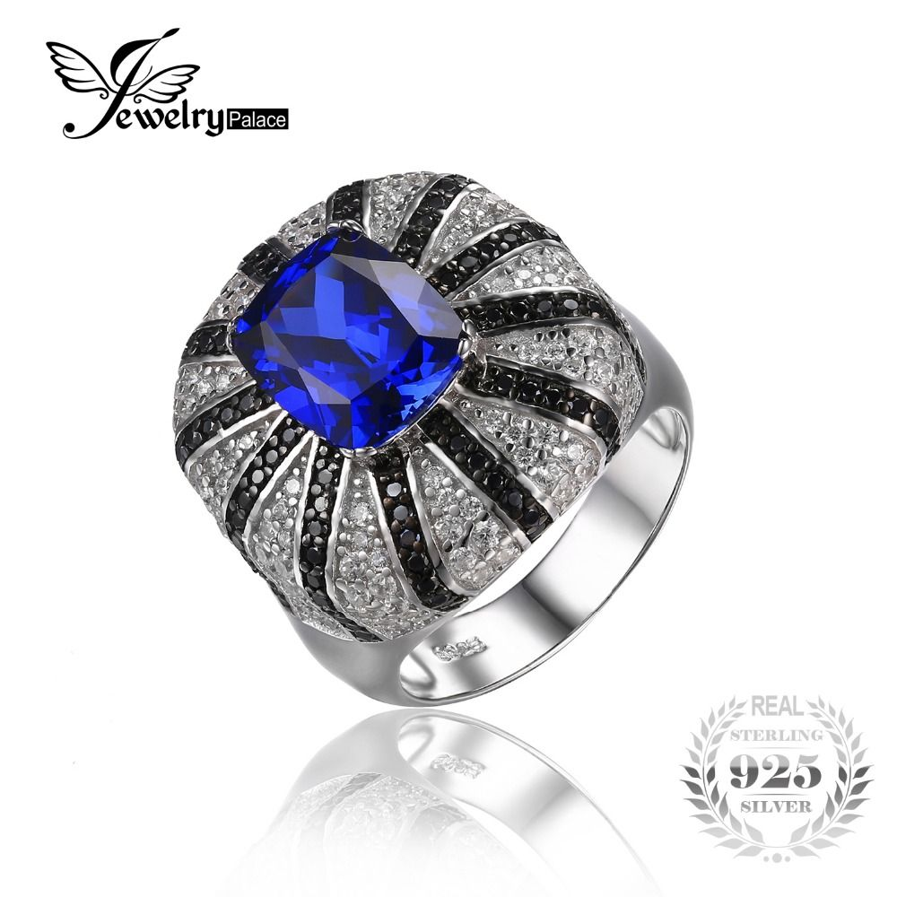 JewelryPalace Solid 925 Silver Luxury 3.9ct Created Sapphire Natural Black Spinel Cocktail Ring Fine Jewelry for Women