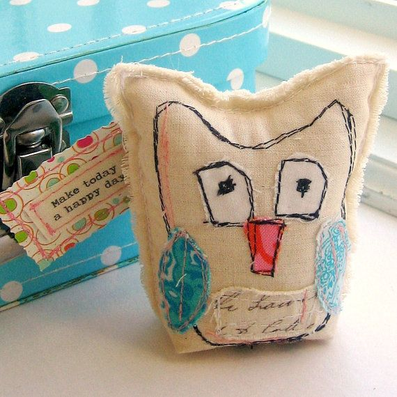 Art Owl Owl Sculpture Fabric Owl Owl Ornament by tracyBdesigns, $9.00