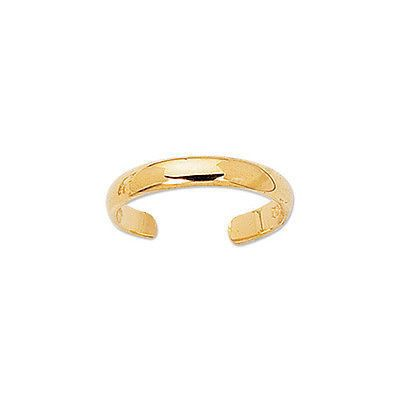 10K Yellow Gold Crossover Shiny Adjustable Ring or Toe Ring