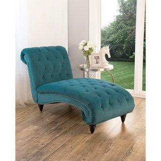 Phenomenal Abbyson Felice Tufted Velvet Chaise Teal Green Polyester Machost Co Dining Chair Design Ideas Machostcouk