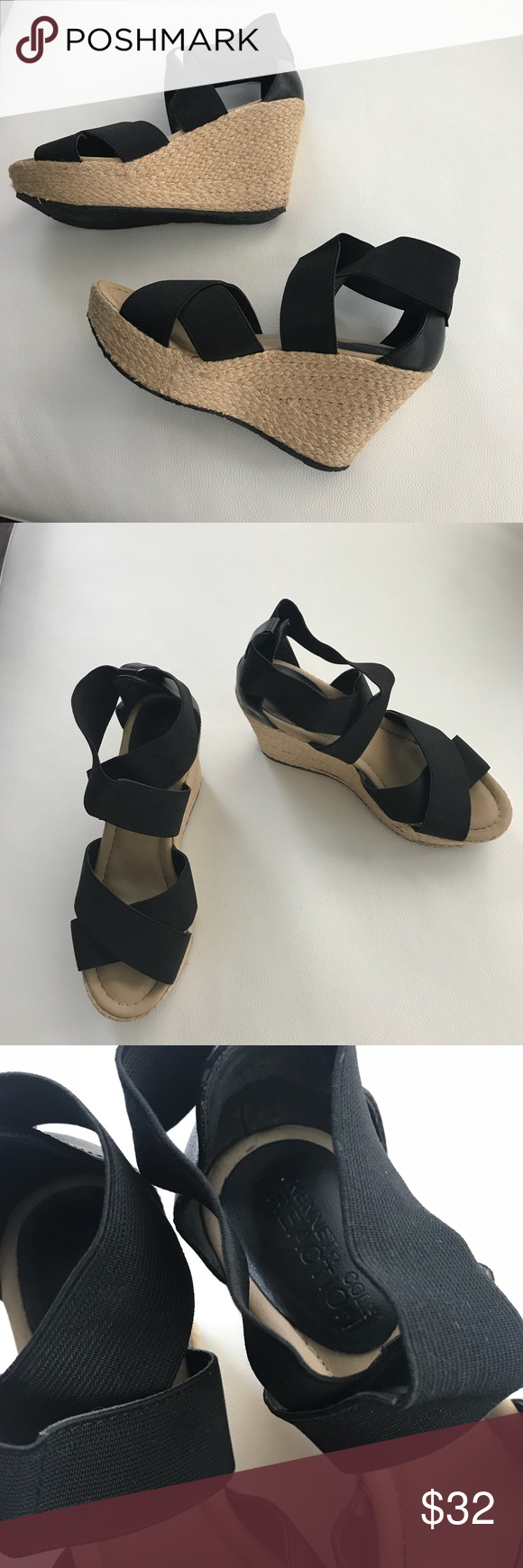 Kenneth Cole Reaction Wedge Black Sandal size 6