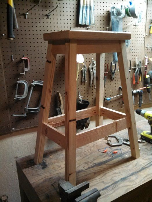 Shop Stool Made From Only 2x4s By Bpatterson Lumberjocks Com Woodworking Community