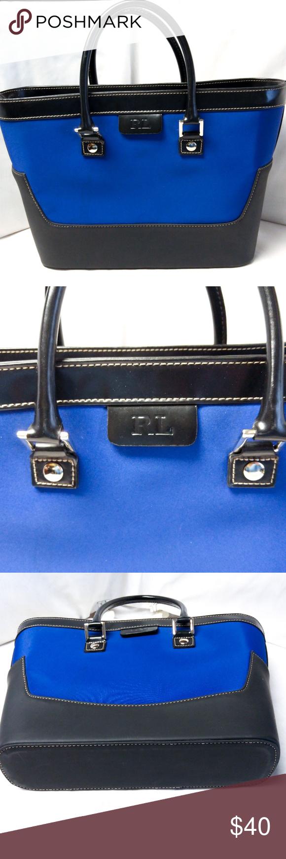 a3fb276ace83 Ralph Lauren Satchel Handbag Tote Pacific Blue Ralph Lauren Satchel Handbag  Purse Tote Pacific Blue Black