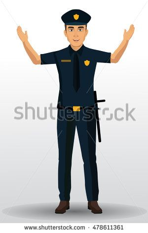 Police officer vector illustration, policeman character design with ...