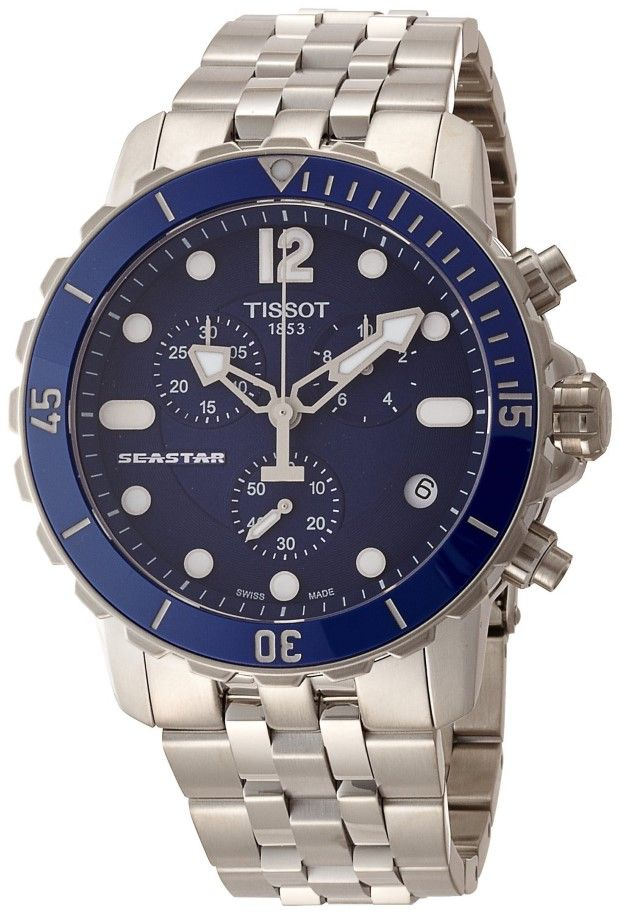 6c5cc4e99f2 Tissot Seastar Automatic Chronograph Blue Dial Stainless Steel Mens Watch  T0664171104700