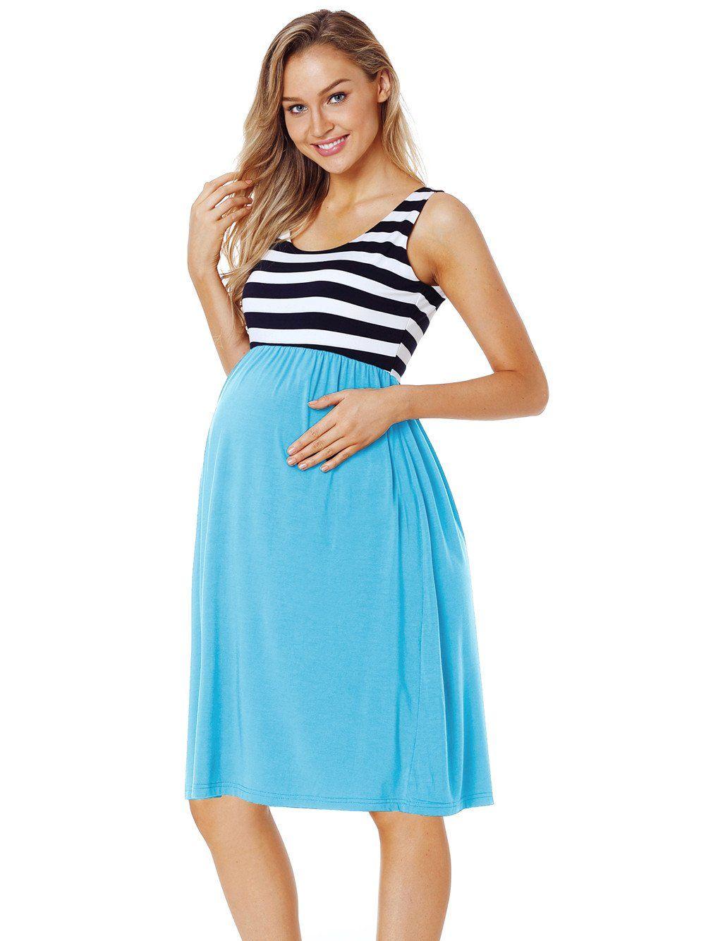486f8003ad796 Maternity Dresses - CareGabi Maternity Tank Dress Womens Sleeveless Stripe  Knee Length Tank Dress for Baby Shower M Stripe Sky Blue ** See this  wonderful ...