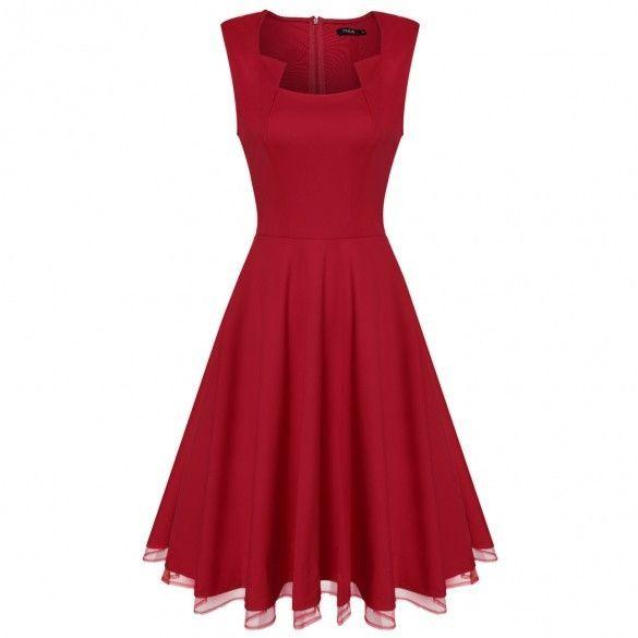 Women Fashion Sleeveless Tank High Waist Mesh Patchwork Hem Solid A-Line Swing Long Dress
