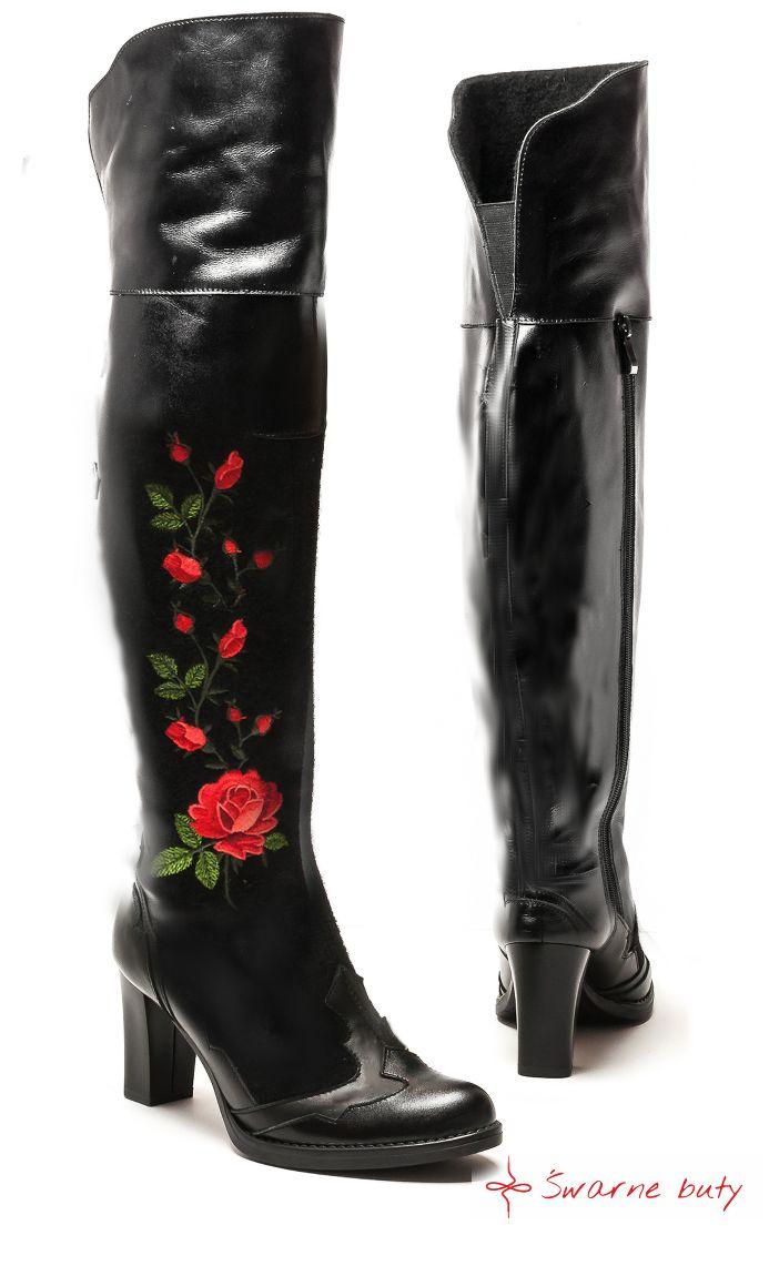 Goralskie Kozaki Na Slupku Za Kolano Malowane W Roze Recznie Robione Skorzane Kozaki Za Kolano Inspirowane Stylem Goralskim Ma Shoe Boots Boots Riding Boots