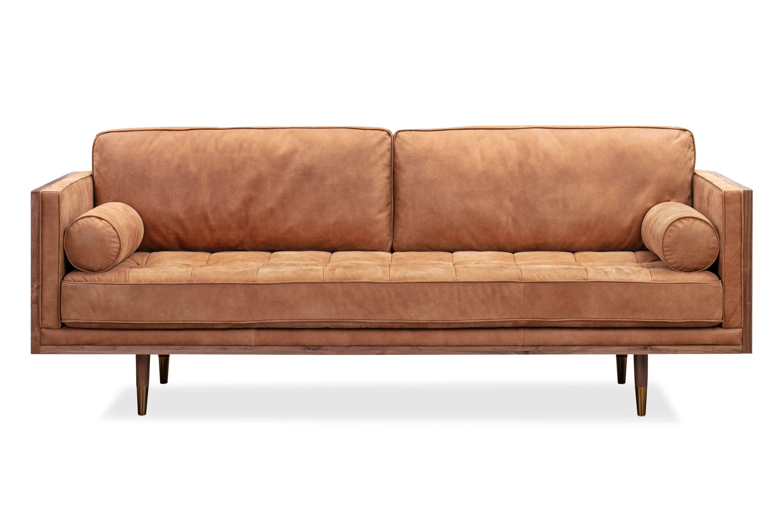 Woodrow Skandi 87 Leather Sofa Walnut Cognac Leather Sofa Sofa Leather Sofa Set