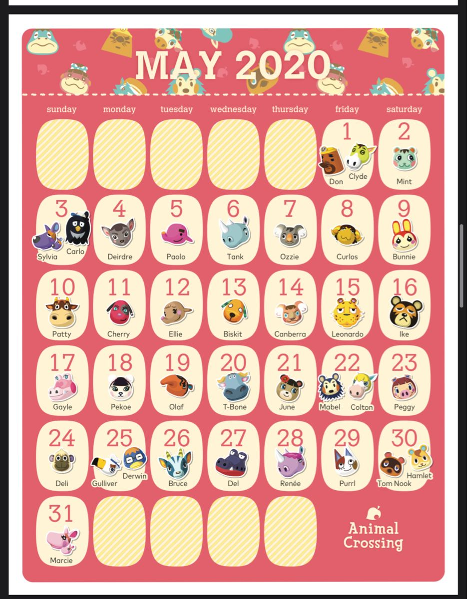 Pin By Kuro On Ac 2020 Calendar Starting In March In 2020