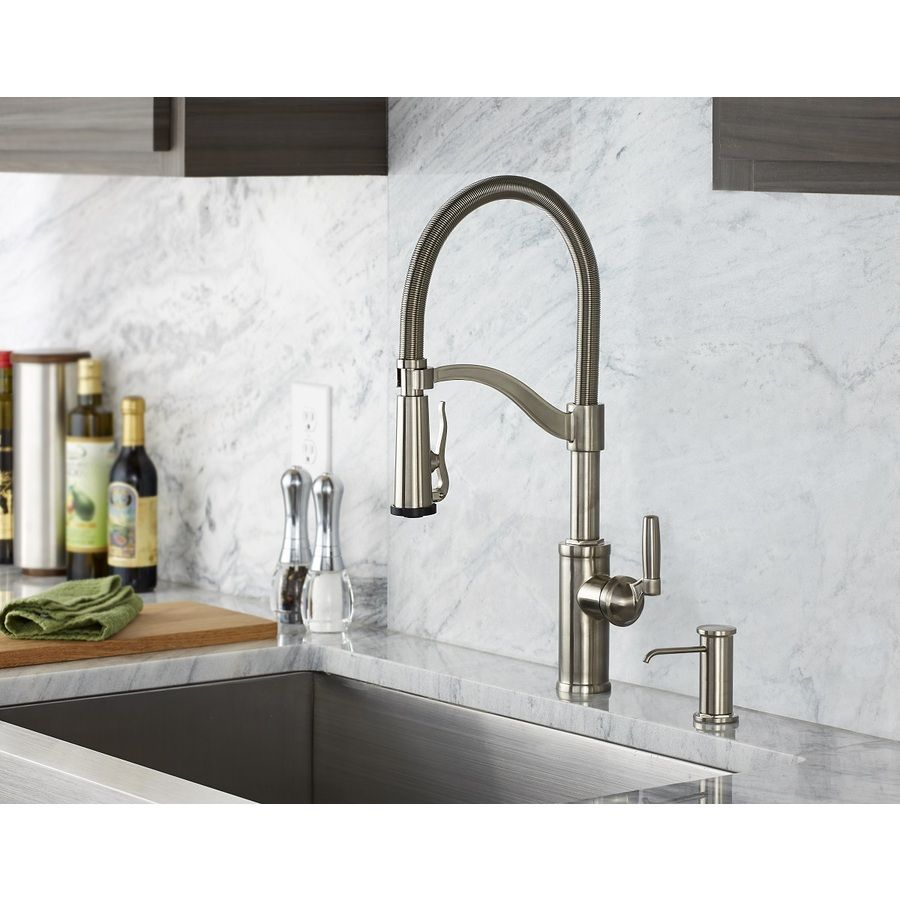 side kitchen faucet chrome with contemporary royden pull lever stainless steel hole down single