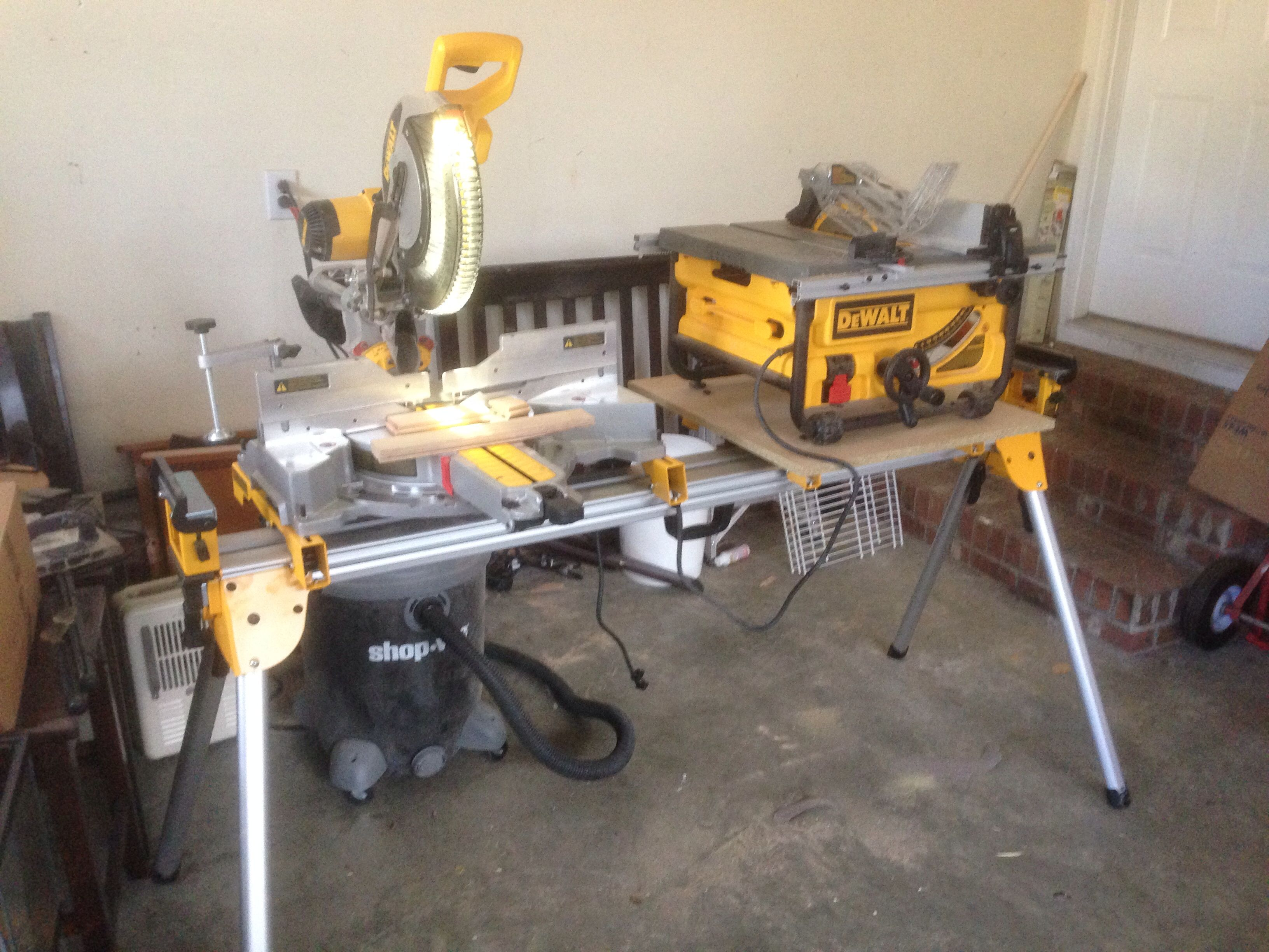 Astonishing How To Get Dewalt Miter Saw And Table Saw On Same Stand Ibusinesslaw Wood Chair Design Ideas Ibusinesslaworg