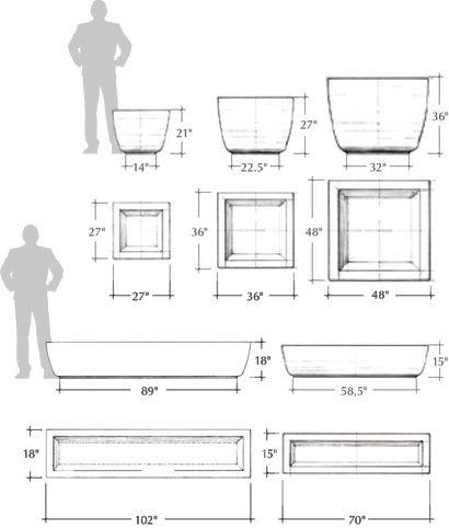 Square Series Precast Concrete Planters Schematic Hypertufa And