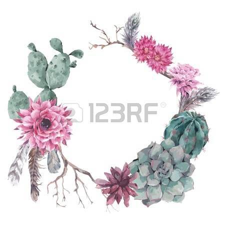 succulent: Sommer Vintage Blumenkranz mit Zweigen, saftig, Kaktus und Federn in Boho-Stil