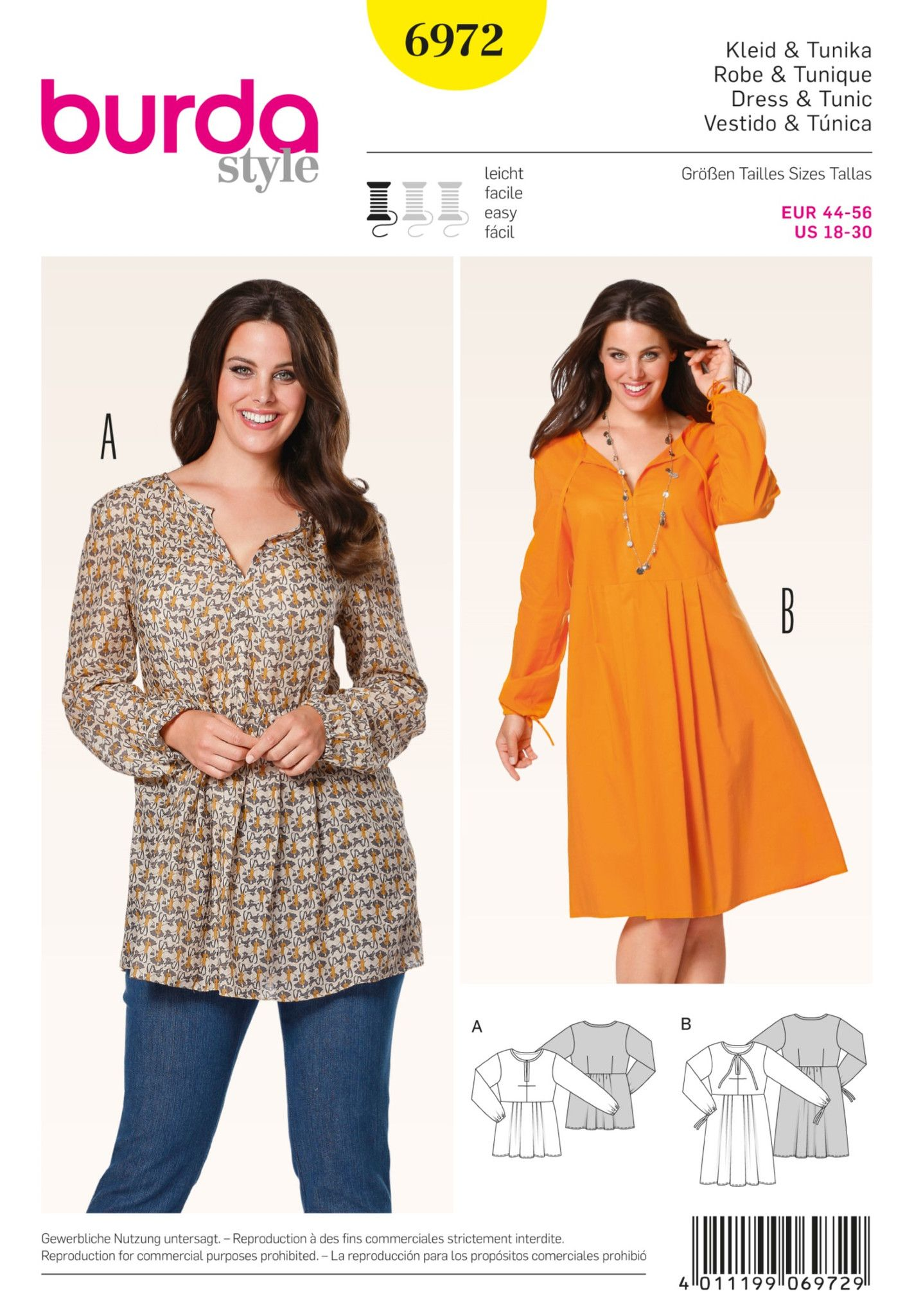 Burda Sewing Pattern: 6972 Plus Size Tunic & Dress | Average ...
