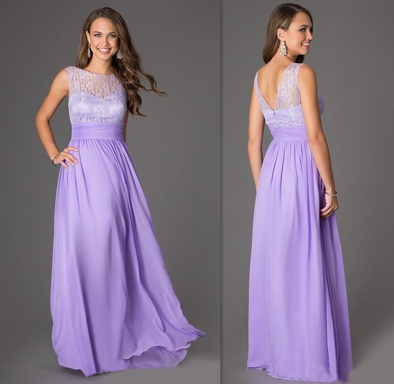 2015 Lavender lace chiffon Bridesmaids Dresses Sheer Cap Sleeves ...