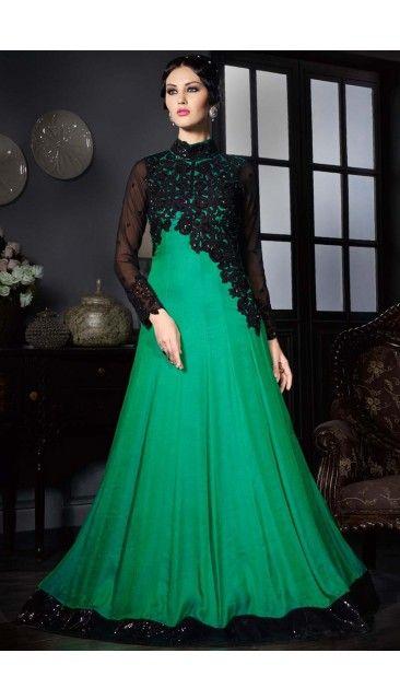 8c438dc232 Green Satin Silk Georgette Gown with Chiffon Dupatta - DMV14096 ...