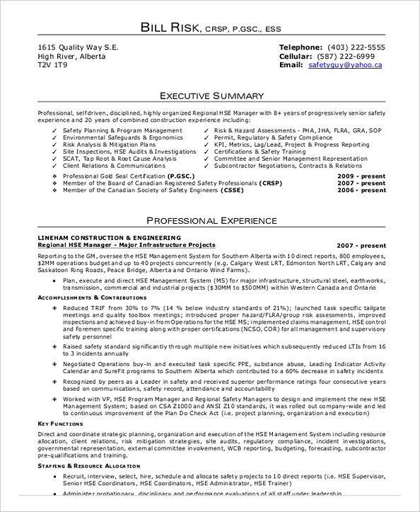 health safety officer resume sample
