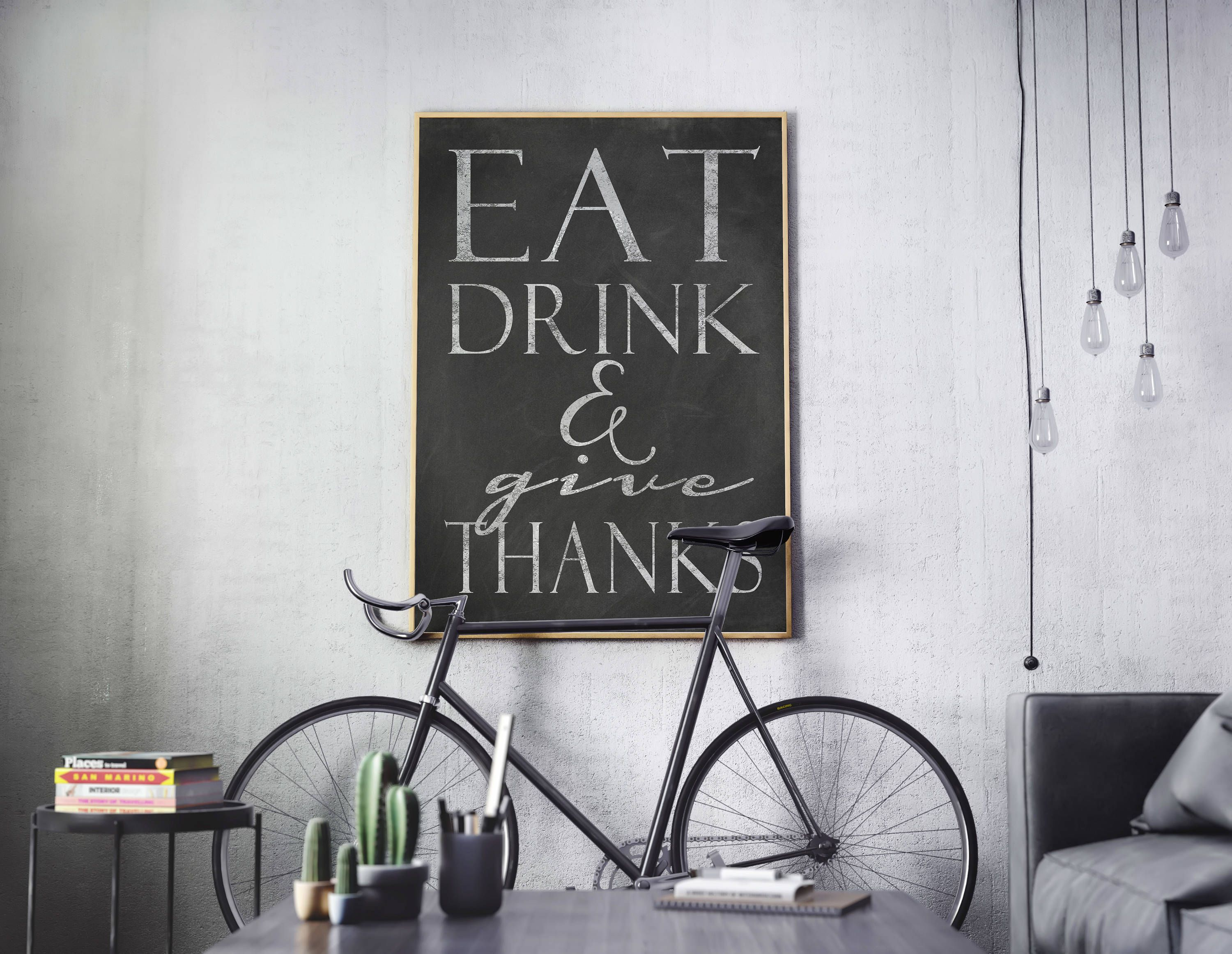 Farmhouse Style Chalkboard Instant Download Eat Drink And Give Thanks Printable Art Rustic Print 16x20 11x14 8x10 Printable Art Stronger Than You Think Chalkboard