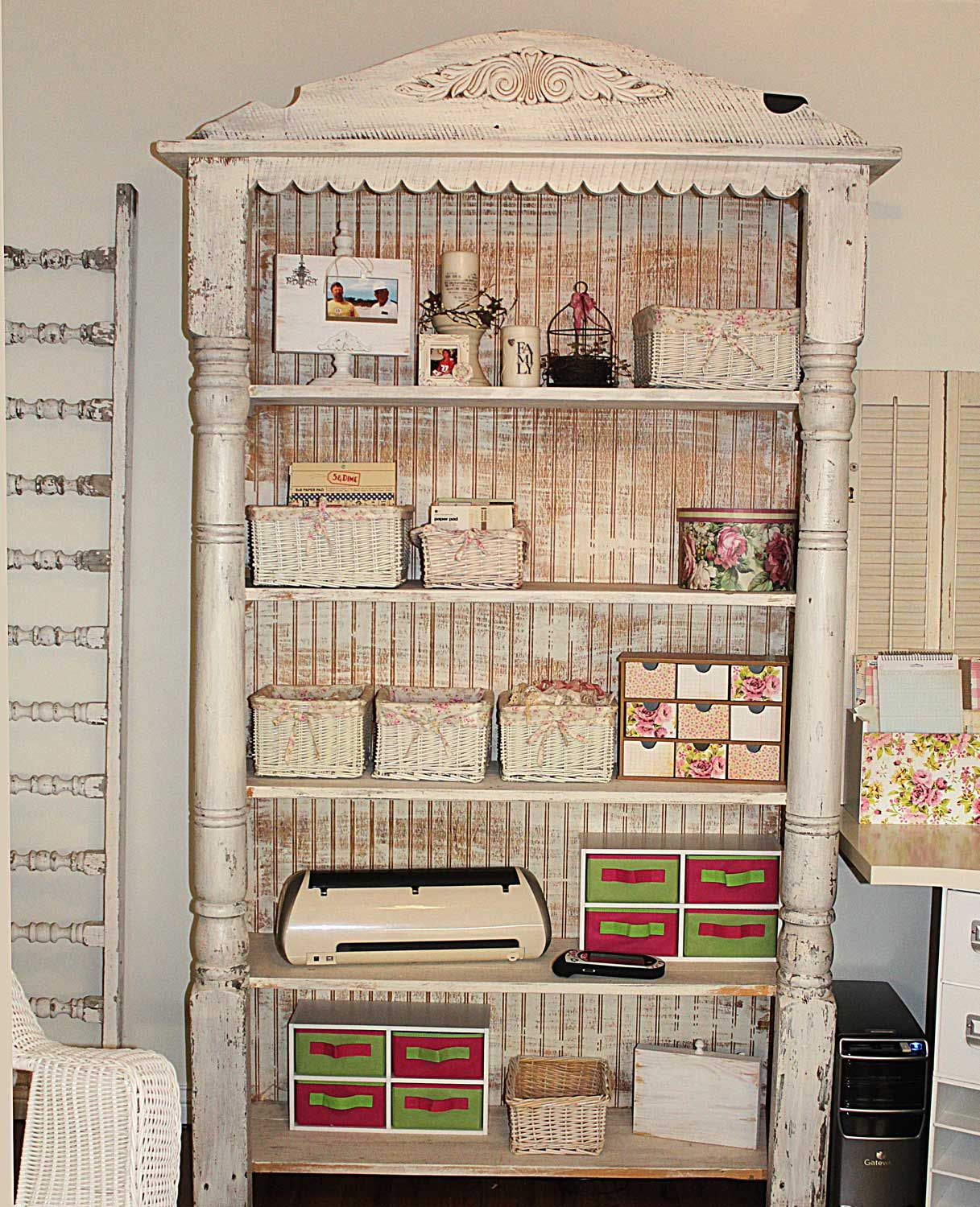 Repurpose Bookcase: Shabby Shelving Or Bookcase Made With Porch Posts & Fancy