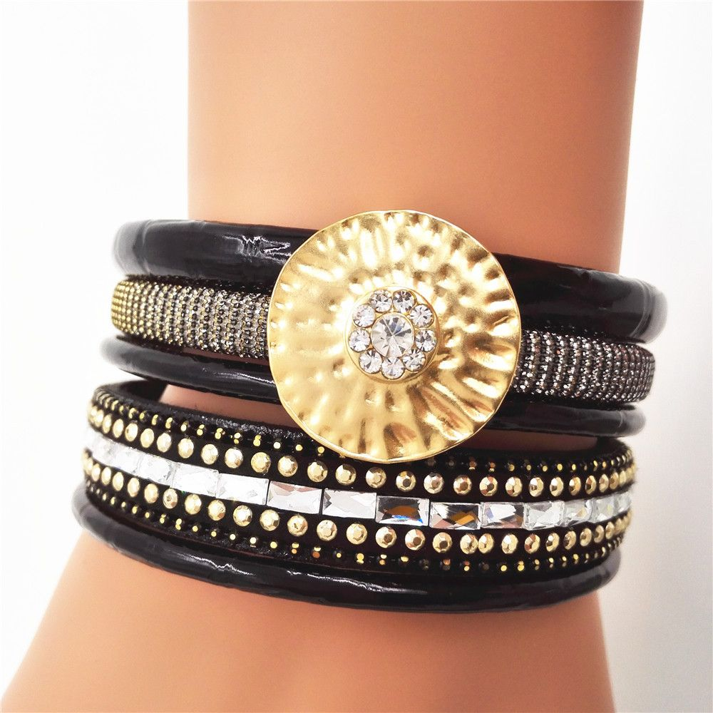 Click to buy ucuc hot new leather cubic zirconia bracelets