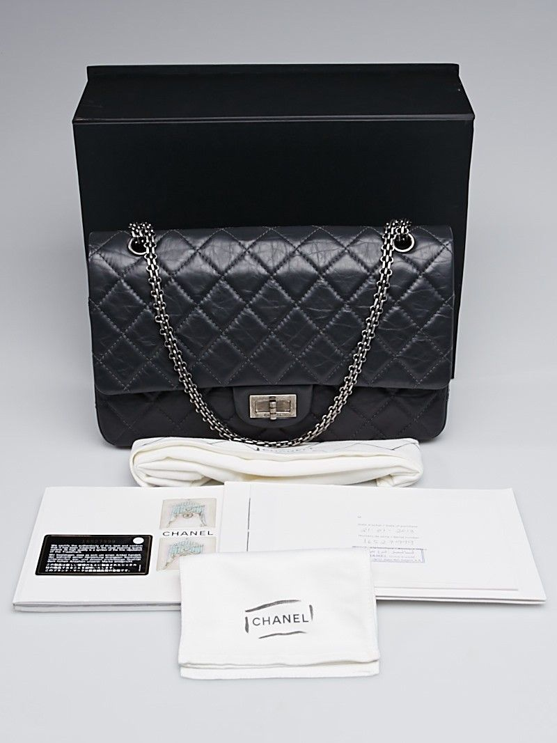 bfa64a7d092b Chanel Grey 2.55 Reissue Quilted Classic Calfskin Leather 227 Jumbo Flap Bag