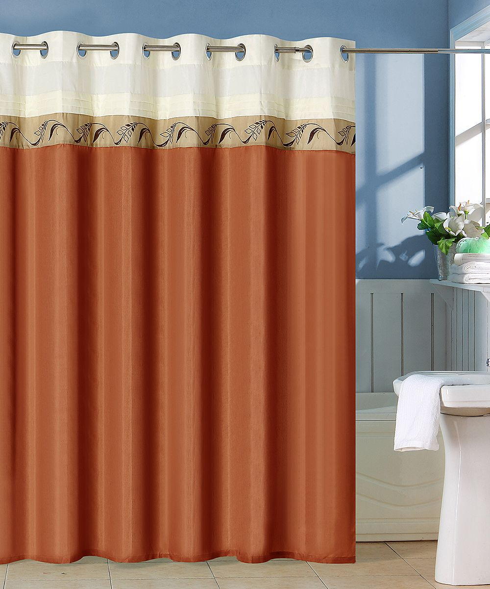 Rust Lavish Home Abilene Embroidered Shower Curtain With Images