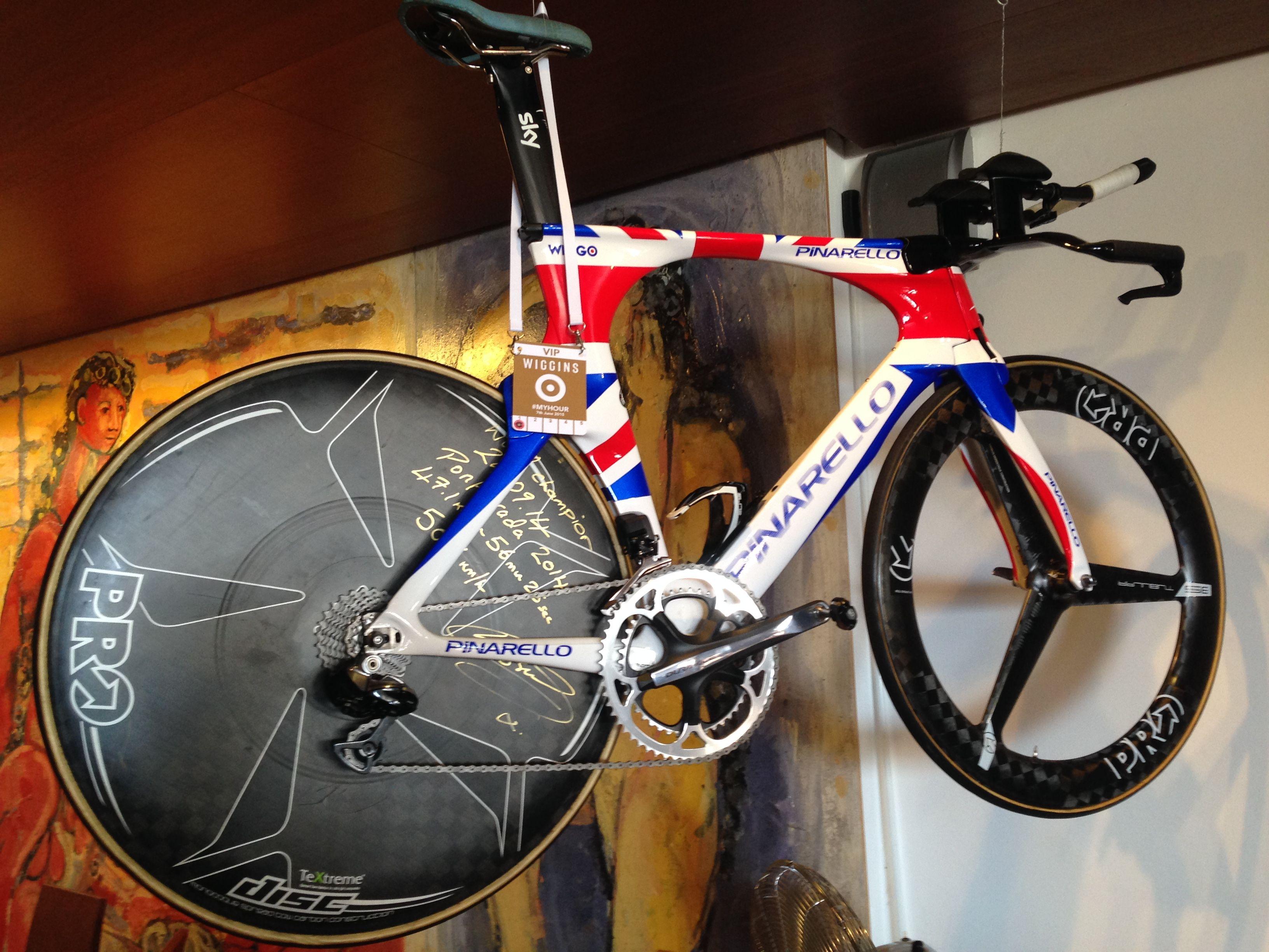 Bradley Wiggins Pinarello time trial bike hanging in Tolos Restaurant in Porto Pollenca