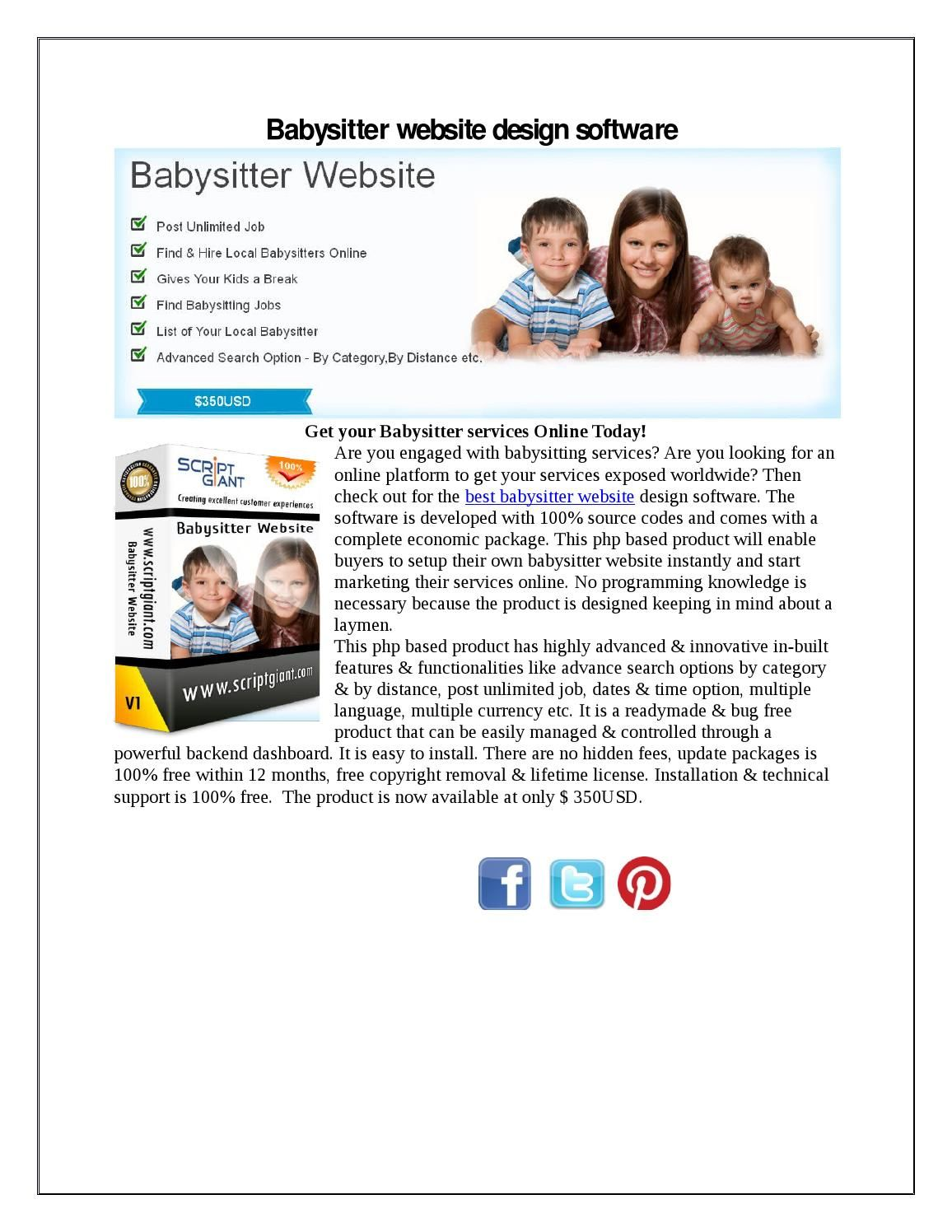 babysitter website script has been developed to create a replica of babysitter website the software