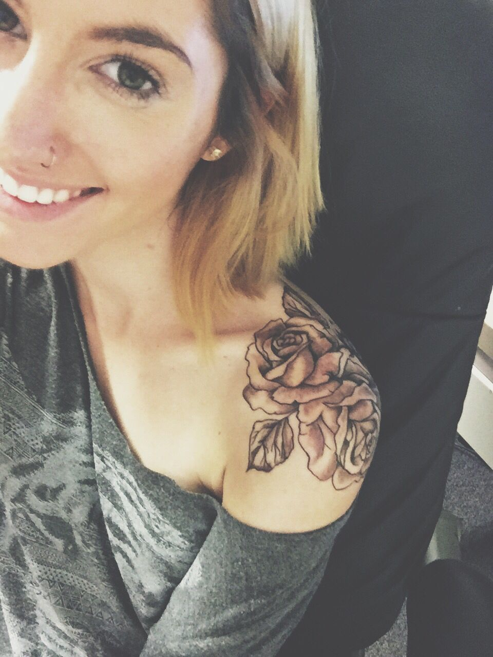 Rose Shoulder Tattoo Women