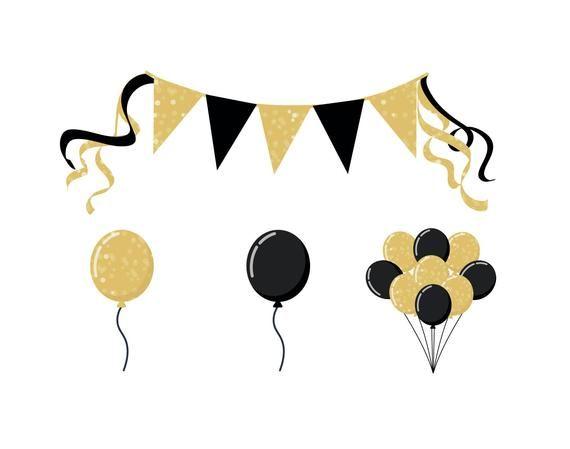 Birthday gold. Party balloon clipart glittery