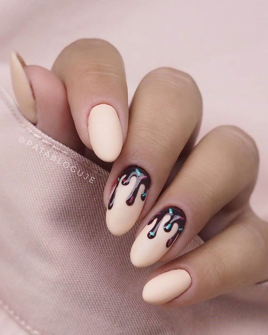 33 Breathtaking Designs For Almond Shaped Nails Almond Acrylic Nails Matte Nails Design Almond Nails Designs
