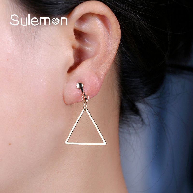 Simple Clips Earrings Without Piercing Trendy Hollow Triangle Pendant Clip Earring Womens Dangling Earing Ce15