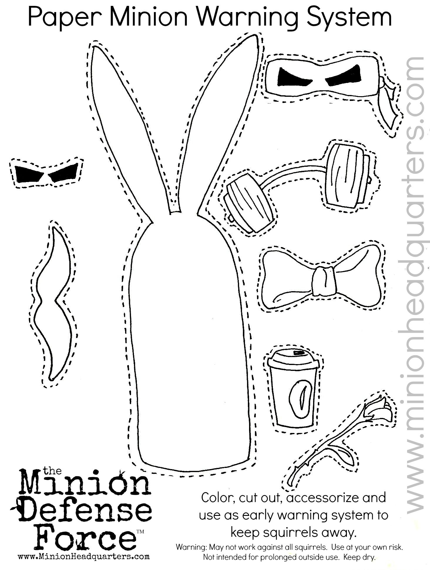 DIY cut out and keep coloring page Make your own Minion