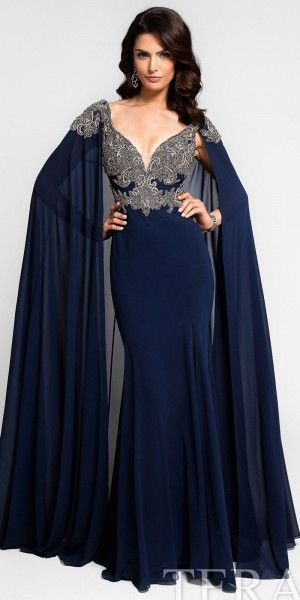 Plunging V Neck Applique Cape Evening Dress By Terani Couture