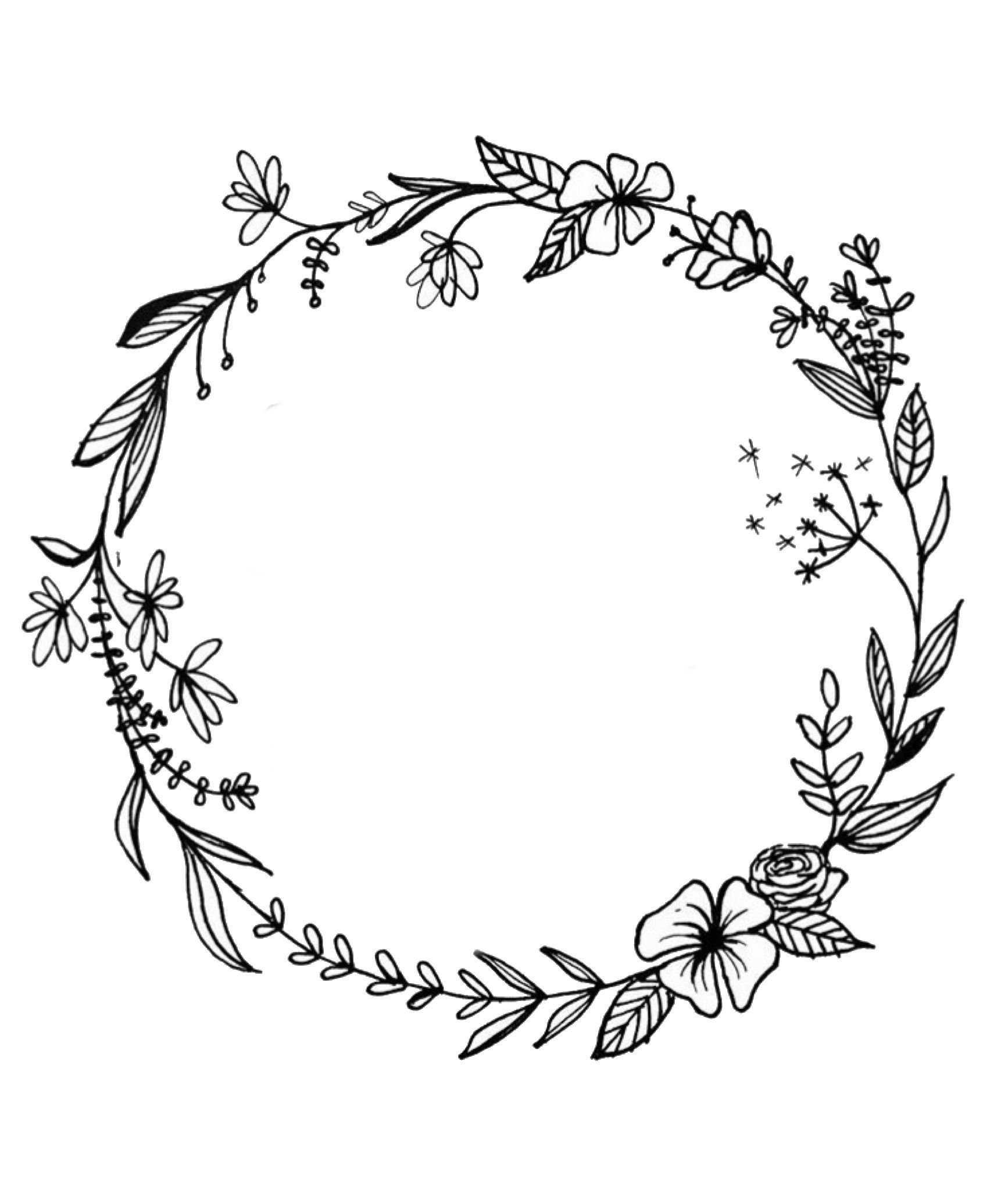 Floral Wreath In 2020 Floral Wreath Drawing Wreath Drawing Flower Tattoo Designs