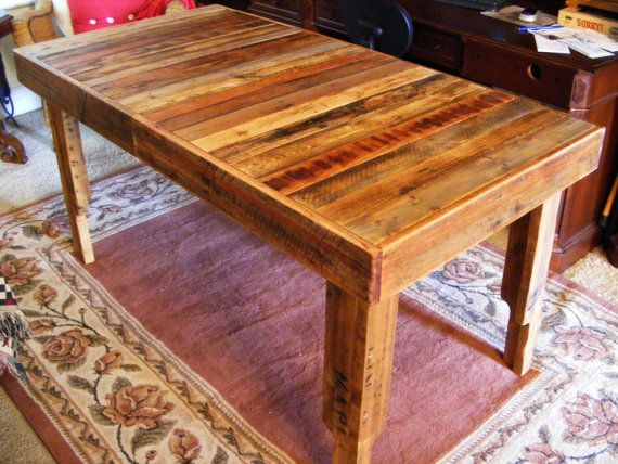 Rustic Reclaimed Wood Dining Table Or Desk 60 X 30 X 30 High