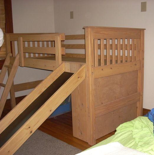 bunk loft factory twin mid height loft bed slide mission wood l8 lekestue in 2019. Black Bedroom Furniture Sets. Home Design Ideas
