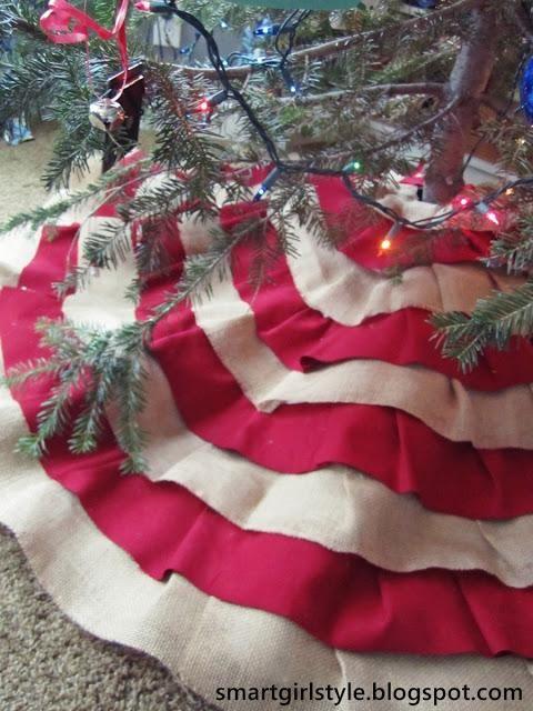 DIY Christmas Crafts  Burlap Tree Skirt No-Sew DIY Christmas