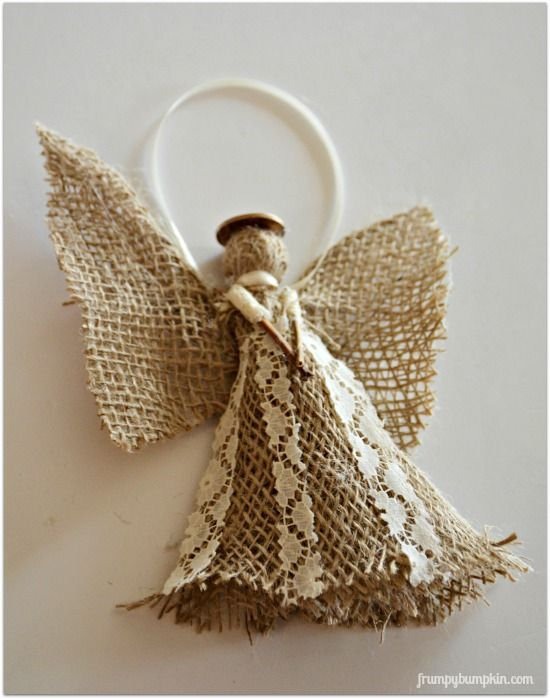 burlap angel christmas ornament - Angel Decorations