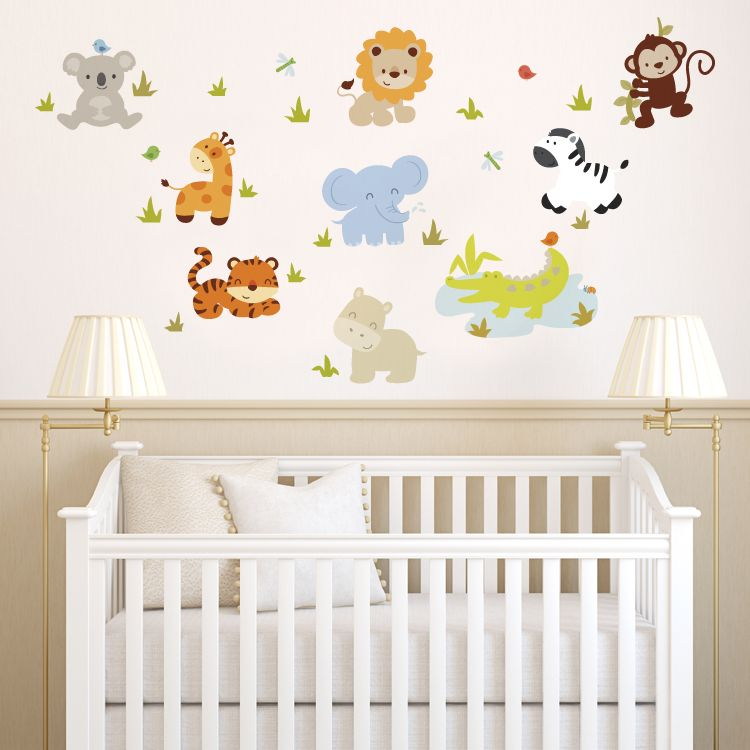 Delightful Baby Room Idea Baby Zoo Animals Printed Wall Decals Stickers