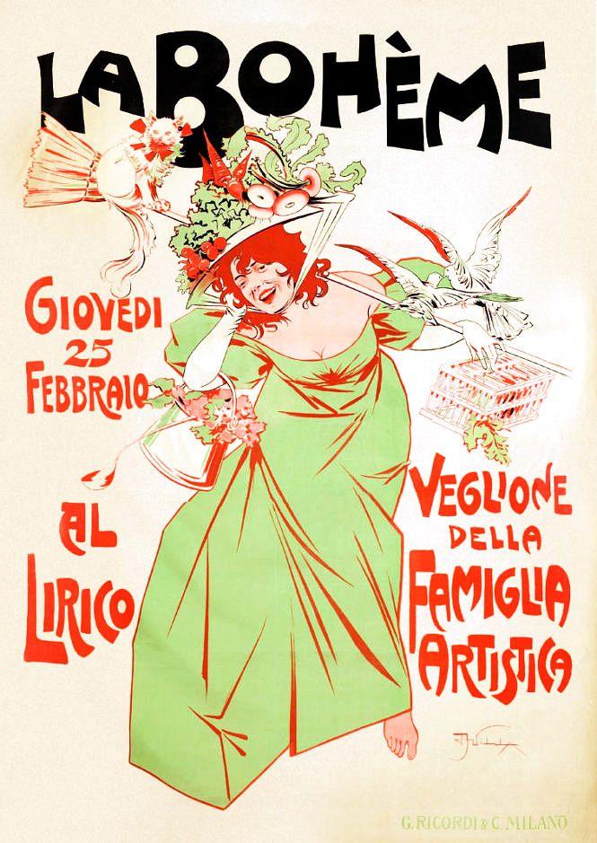 """VILLA, Aleardo (1865-1906). La Bohème. """"Veglione della Famiglia Artistica"""", Teatro Lirico, Milano."""