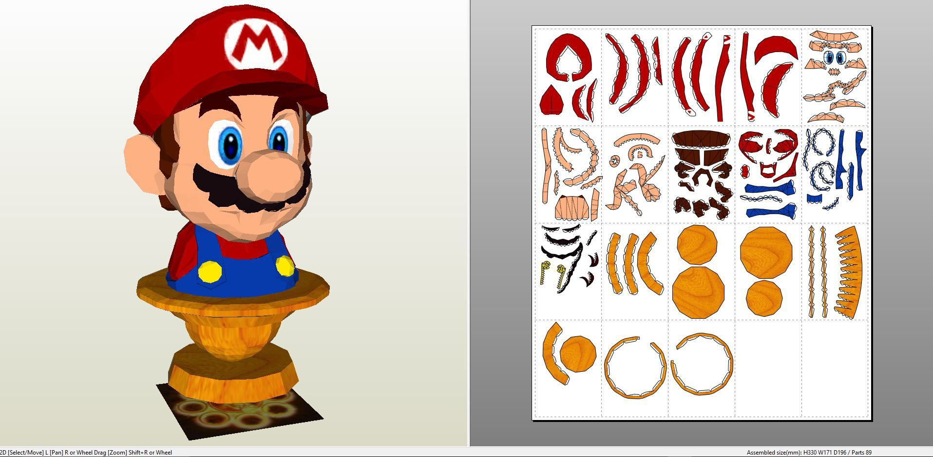 Papercraft .pdo file template for Super Mario - Mario Bust ...