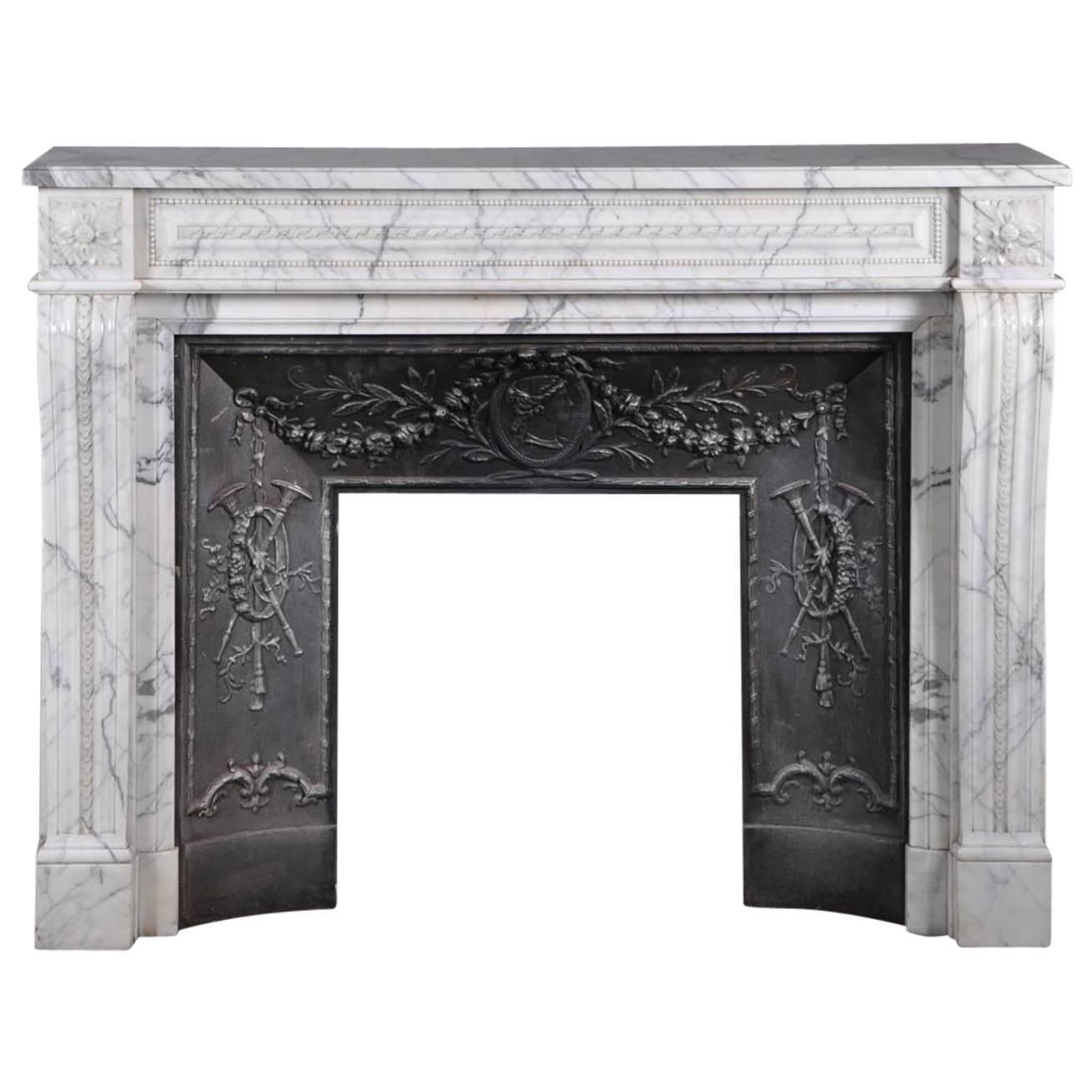 Arabescato Marble Fireplace With Its Original Cast Iron Inside 1