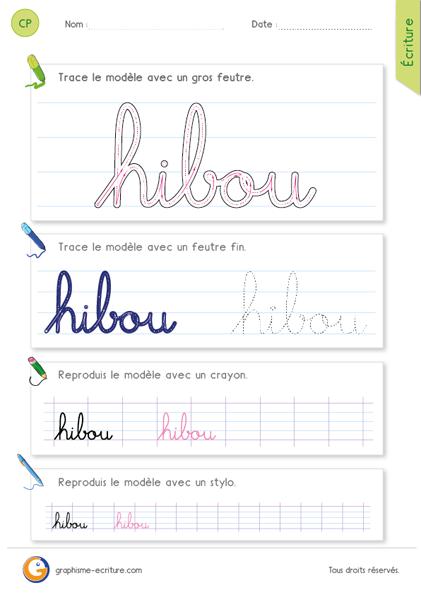 Apprendre crire le mot hibou en minuscules cursives criture de la lettre h dans le mot - H en majuscule ...