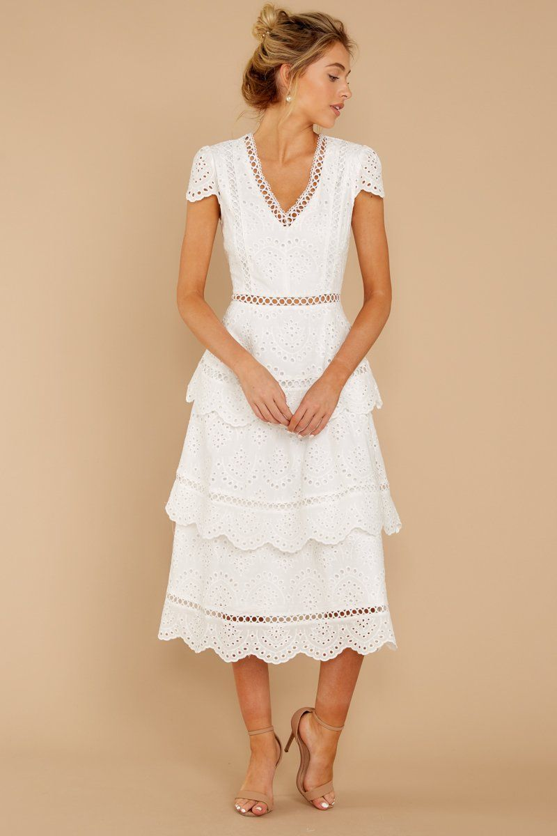 Brunch out white eyelet midi dress with images midi