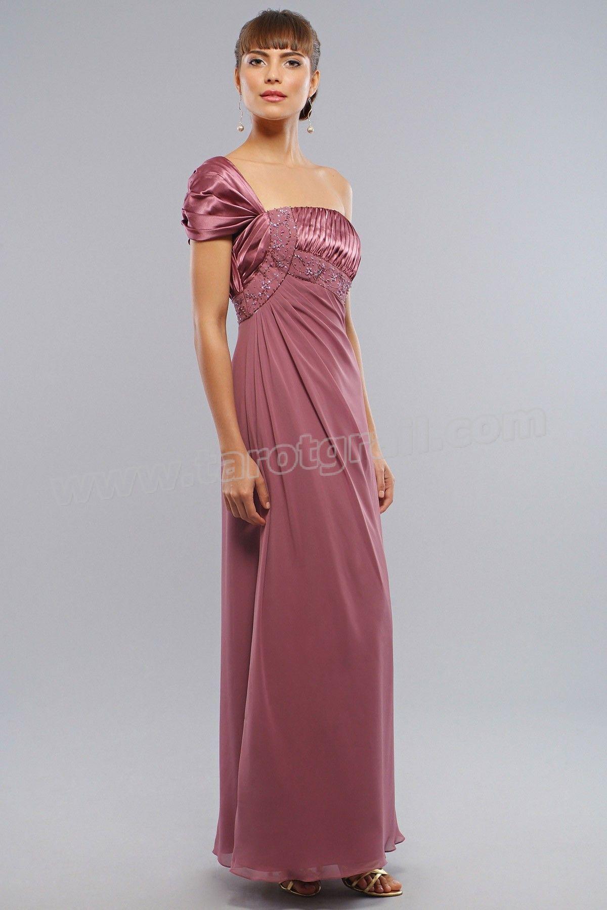 Chiffoncharmeuse strapless oneshoulder long prom dress prom