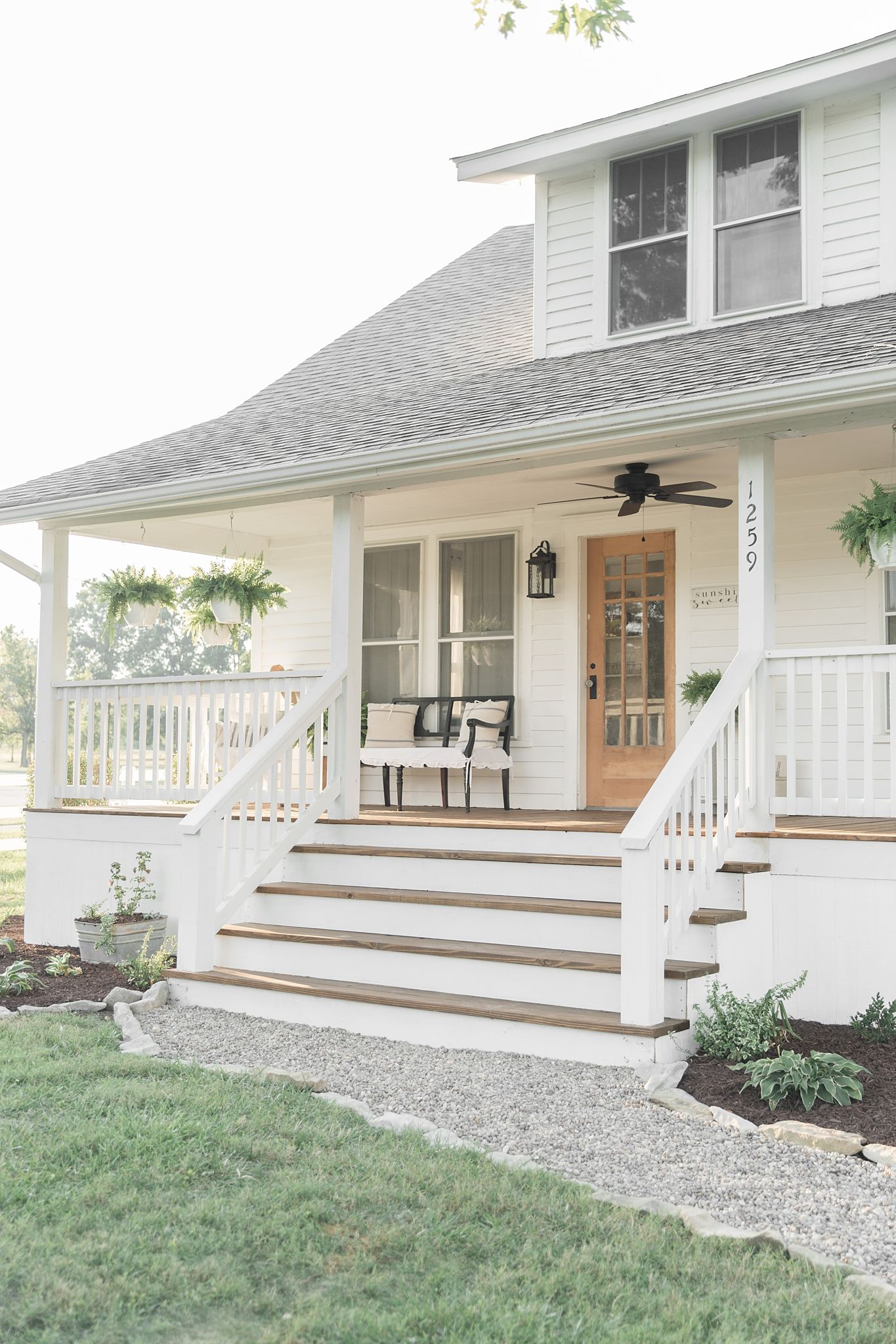 farmhouse porch curb appeal makeover reveal front porch on gorgeous modern farmhouse entryway decorating ideas produce a right one id=77492